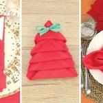 3 Ideias fascinantes para dobrar os guardanapos e enfeitar a mesa no Natal!